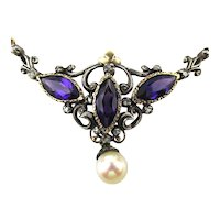 Grand 18K Gold Diamond Amethyst Victorian Necklace