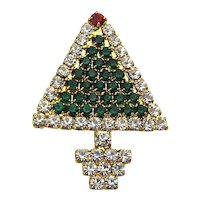 Miniature Crystal Rhinestone Christmas Tree Pin Brooch