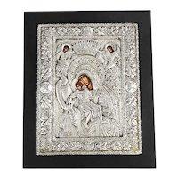 Vintage 925 Sterling Silver Icon Sacred Image Greek Plaque Byzantine Art