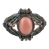 Vintage Chinese Enamel Sterling Silver Ring w/ Coral Stone