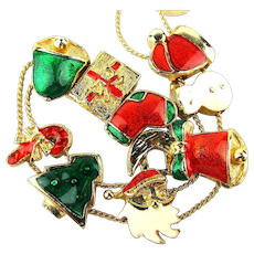 Vintage Enamel Christmas Sliding Charm Bracelet