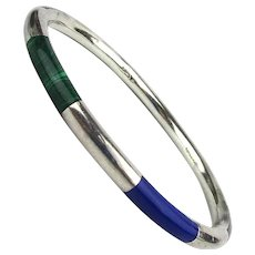Slim Sterling Silver Mexican Bangle Bracelet w/ Inlaid Stones