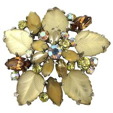 Vintage Floral Rhinestone Pin w/ Fruit Salad Glass Leaves