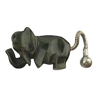 Art Deco Carved Bakelite Elephant Figurine w/ Mesh Chain Tail