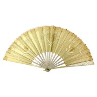 Old Silk / Wood Fan w/ Lace Trim Inserts Handpainted Accents