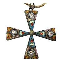 Victorian Micro Mosaic Maltese Cross Pendant Necklace