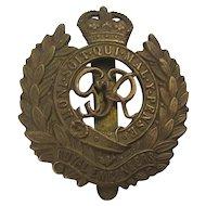 WW1 GVR Royal Engineers Emblem Badge w/ Clip Order of the Garter