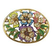 Old 1930s Handpainted Enamel Jeweled Flower Pin
