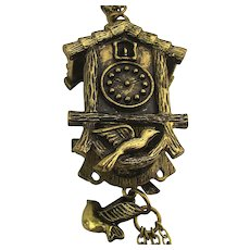 Vintage Coo-Coo Clock Pendant Necklace