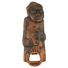 Large Korean War Souvenir Bottle Opener Scenic - Figural