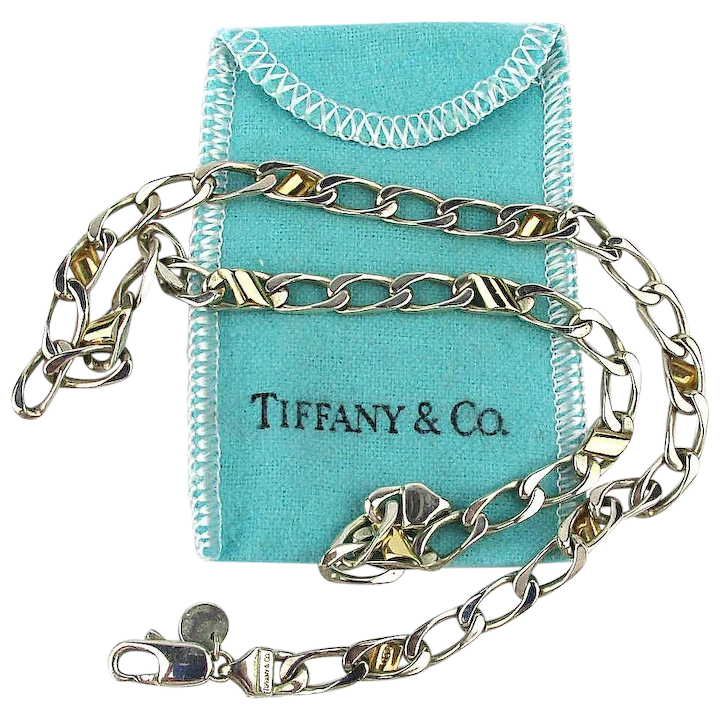 befc46820cddc Vintage Tiffany & Co. 925 Sterling Silver- 18K Gold Chain Link Necklace