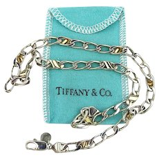 Vintage Tiffany & Co. 925 Sterling Silver- 18K Gold Chain Link Necklace