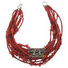 Old Coral 11 Strand Necklace w/ Sterling Silver Huaca Serpent Pendant