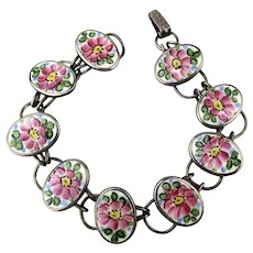 Bliss Bros. 1920s Sterling Silver Flower Links Bracelet Handpainted - Enamel