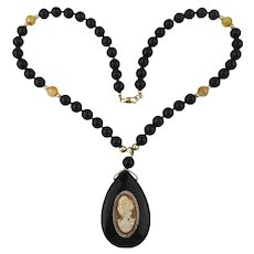 Black Onyx Bead Necklace w/ Carved Shell Cameo Pendant Gold Filled