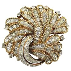 Jomaz Rhinestone Studded Gilt Pin Brooch