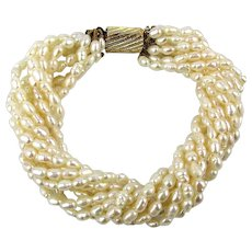 Ten Strand Freshwater Pearl Bracelet w/ Ribbed Gilt Clasp