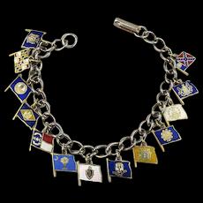 Vintage Enamel Flags Charm Bracelet - 13 Original American Colonies