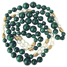 Estate Necklace - Malachite - Pearls - 10K Gold Beads