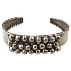 Vintage 950 Sterling Silver Cuff Bracelet w/ Wired Beads