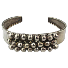 Vintage 950 Sterling Silver Cuff Bracelet w/ Wired Beads