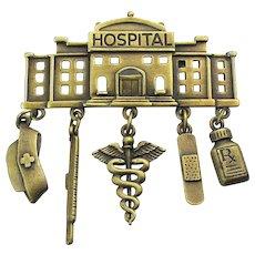 Vintage J.J. Jonette HOSPITAL Pin w/ Charm Dangles
