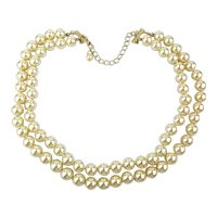 KJL 2 Strand Faux Pearl Bead Necklace by Kenneth Lane w/ Box