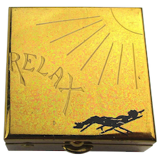 Vintage Brass Etched Pillbox - RELAX