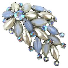 Vintage Rhinestone n Faux Pearl Pin Brooch AB Crystals