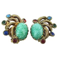 Coiled Gilt Clip Earrings w/ Multi Color Czech Glass Stones