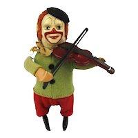 Vintage SCHUCO Windup Cloth on Tin Toy - Clown Violin Fiddler