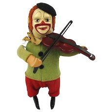 Vintage SCHUCO Windup Cloth on Tin Toy - Clown Violin Fiddler