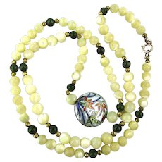 Nice Old Necklace - MOP n Jade Beads w / Enamel Sterling Silver Pendant