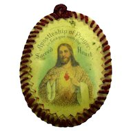 Victorian 1915 Apostleship of Prayer Celluloid Relic in Leather Case - Jesus Sacred Heart