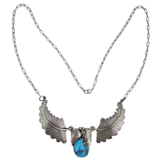 Vintage Navajo Signed MIKE Sterling Silver Necklace w/ Turquoise