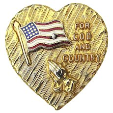 Signed Vintage Pin - Heart Enamel Flag ~ For God and Country ~