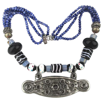 Early Kenneth Lane Tribal Necklace w/ Beads Stones Metal