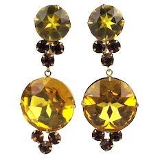 Vintage CARNEGIE Amber Glass Rhinestone Clip Earrings Party Time