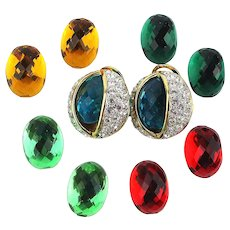 Joan Rivers Pierced Ear Rhinestone Earrings w/ 5 Lucite Changeable Colors