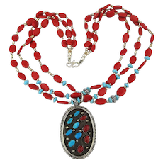 Vintage Sterling Silver Red Coral - Turquoise Necklace