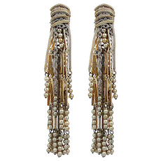 Vintage Long Lavish Clip Earrings Multi Dangles Sultry Elegance