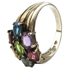 Sterling Silver Ring w/ Colorful Gemstones
