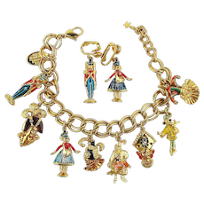 Rare Bolshoi Theatre NUTCRACKER Ballet Charm Bracelet w/ Matching Earrings