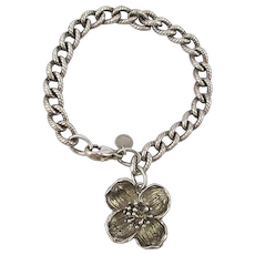 Vintage Tiffany & Co. Sterling Silver Dogwood Charm Bracelet