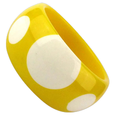 Vintage 1960s MOD Lucite Bangle Wide Injected DOTS Bracelet