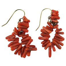 Vintage Branch Coral Bead Earrings - Pierced Dangles