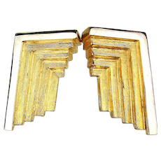Modernist Goldtone Clip Earrings With an Angle