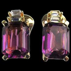 Vintage Christian Dior Crystal Rhinestone Clip Earrings