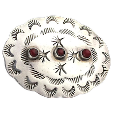 Mexican Handmade Sterling Silver Pin w/ Red Coral
