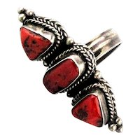 Great Old Native American Sterling Silver Ring w/ Red Coral
